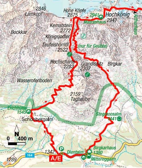 Königsjodler Klettersteig Karte