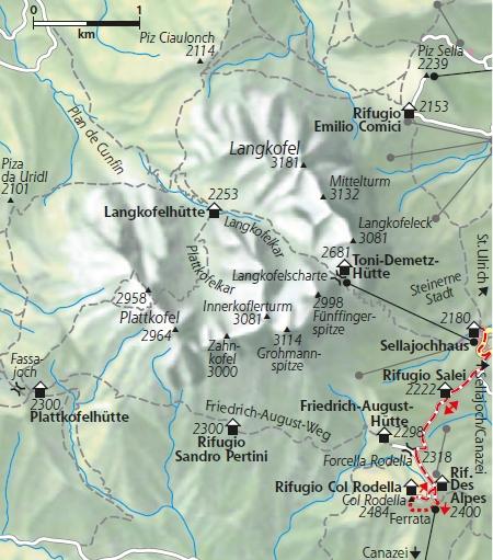 Karte Via Ferrat Col Rodella