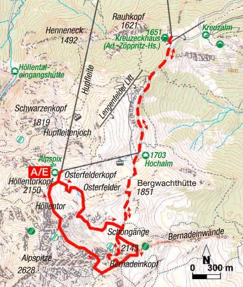 Mauerläufer-Klettersteig Karte