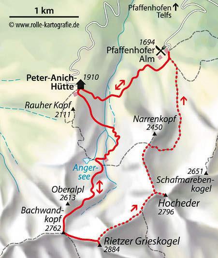 Wanderkarte Bergtour Rietzer Grieskogel