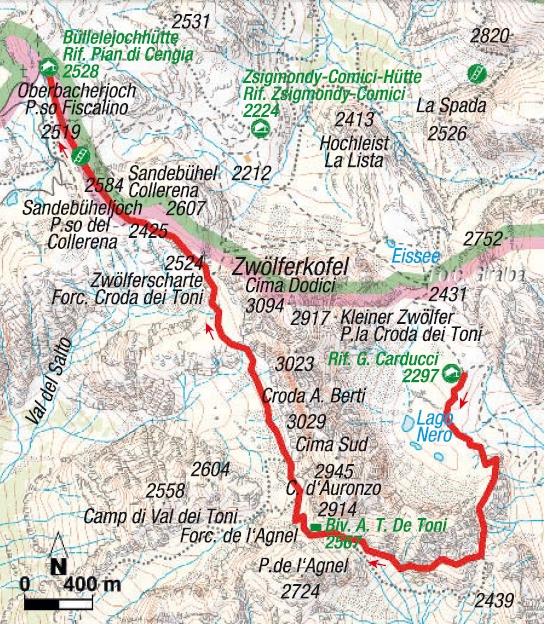 Karte 2. Etappe Klettersteigrunde Sextener Dolomiten