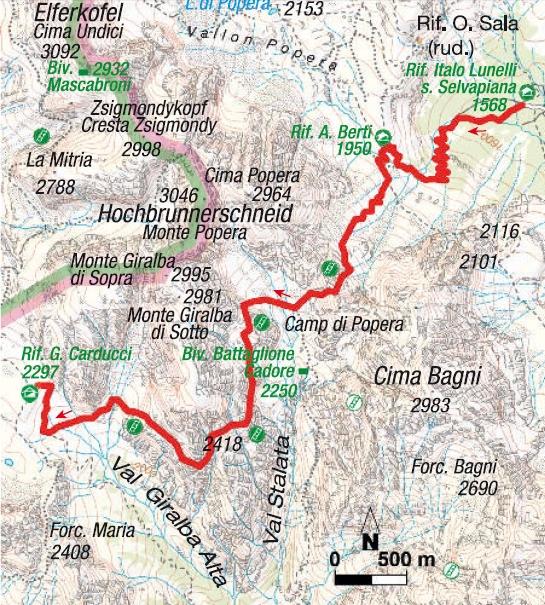 Karte 1. Etappe Sextener Klettersteigrunde