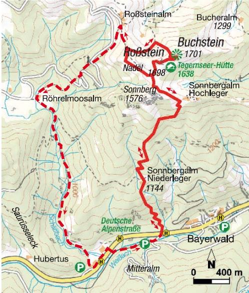 Wanderung Rossstein und Buchstein Karte