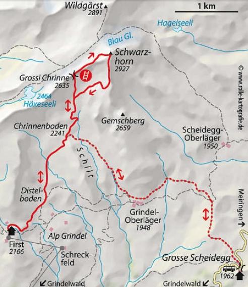 Schwarzhorn Klettersteig Karte