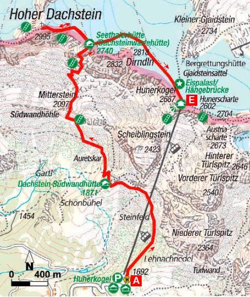 Karte Super Ferrata am Dachstein