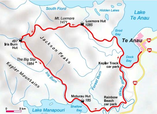 Wanderkarte Kepler Track Neuseeland