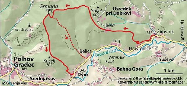 Wanderkarte Grmada Slowenien