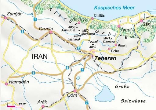 Wandern Iran Karte