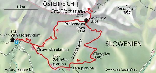 Wanderkarte Stol Slowenien