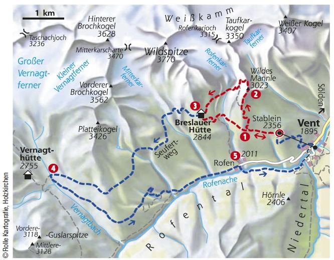 Bergtour Wildes Mannle Karte