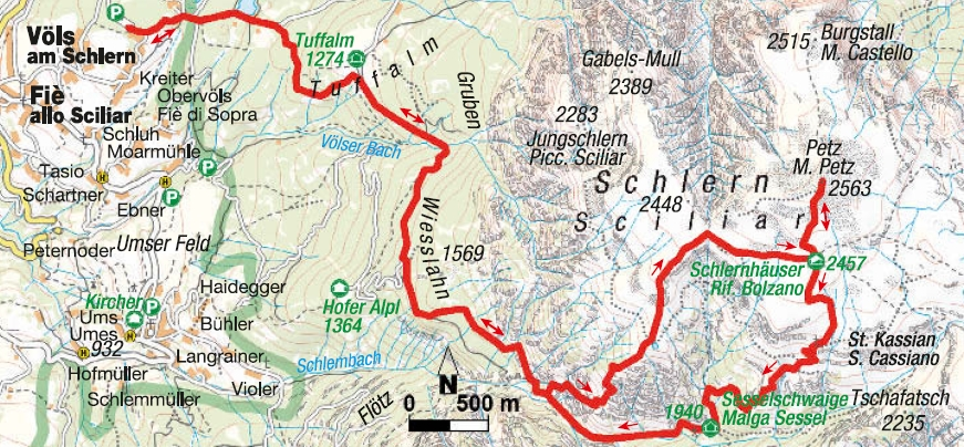 Wanderkarte Bergtour Schlern