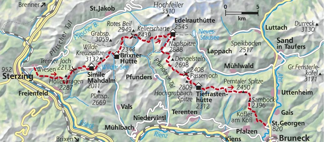 Karte Pfunderer Hoehenweg