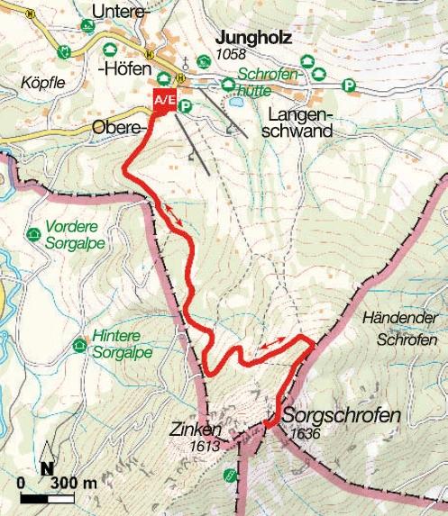 Karte Bergtour Sorgschrofen
