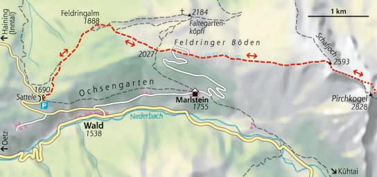 Wanderkarte Schneeschuhtour Schafjoch Ochsengarten Ötztal