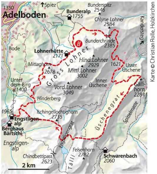Wanderkarte Rundwanderweg Gross Lohner