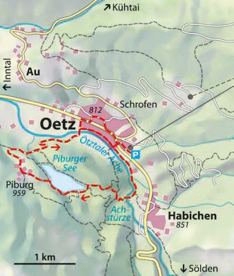 Wanderkarte Winterwanderung Piburger See Ötztal