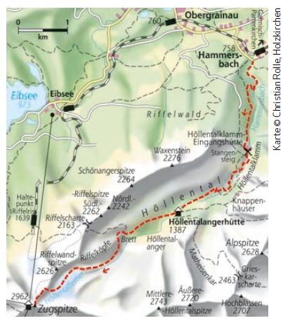 Durch das Höllental auf die Zugspitze - Karte