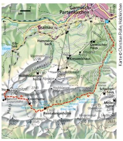 Durch das Reintal auf die Zugspitze - Karte