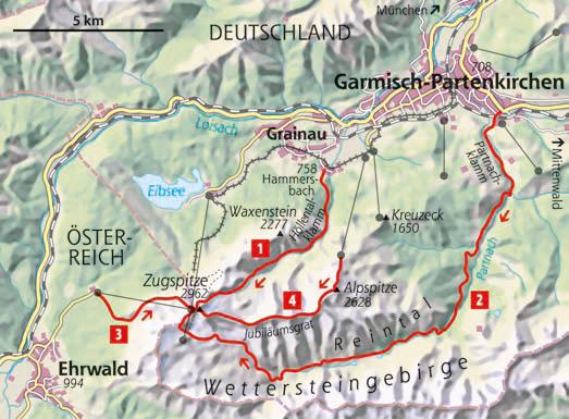 Vier Wege auf die Zugspitze - Karte