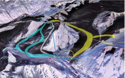 Die geplanten Ausbauten auf den beiden Gletschern (Grafik: DAV)