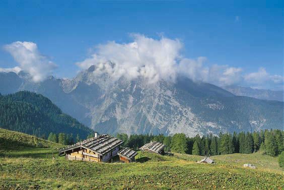 Über der Gotzenalm hüllt sich die Watzmann-Ostwand in Wolken