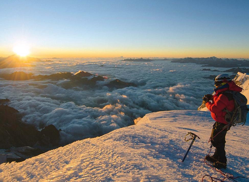 Perfektes Timing: zum Sonnengruß auf dem Mont Blanc, mit viel Zeit für den Abstieg