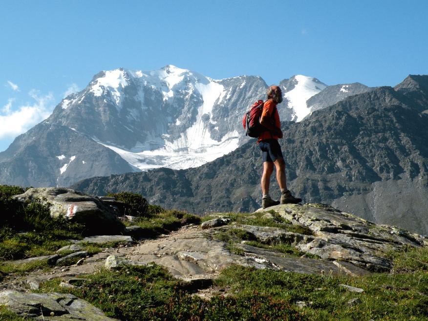 Am Höhenweg Simplon-Süd mit Blick auf das vergletscherte Fletschhorn