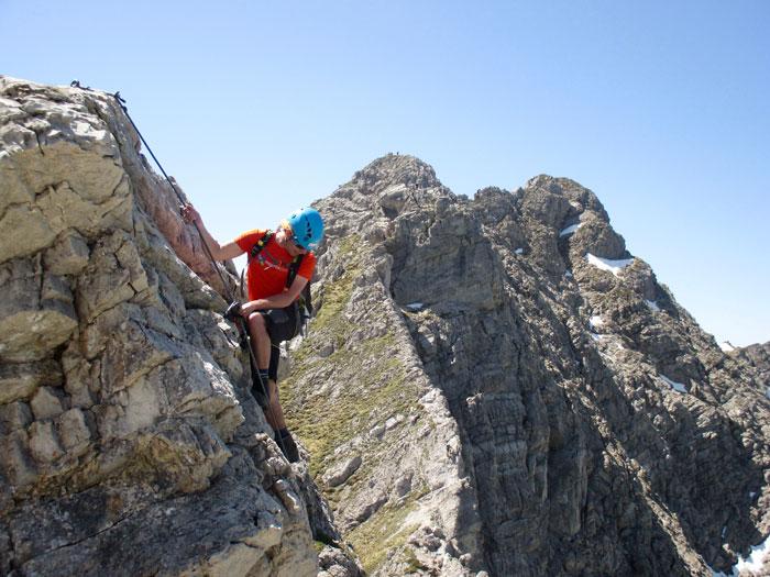 Nur Mut! Der Hindelanger Klettersteig bietet Passagen mit Adrenalin-Garantie.