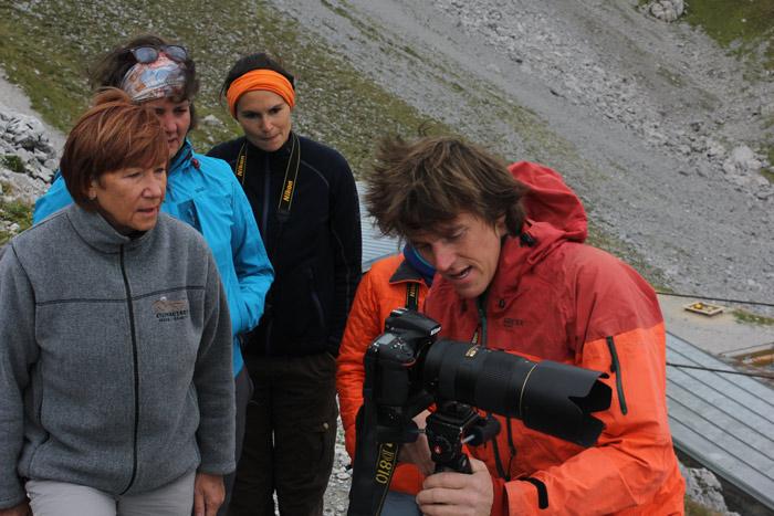 Wolfgang Ehn mit Teilnehmern der Bergsteiger Fototage 2016
