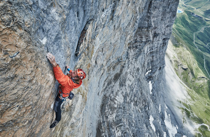 Robert Jasper in der Route »Odyssee« (X-) in der Eiger Nordwand