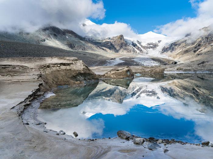 Immer neue Gletscherseen zeigen den Rückgang des Eises am Großglockner an.