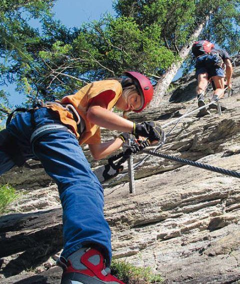 Am Peter-Kofler-Klettersteig in der Staflacher Wand