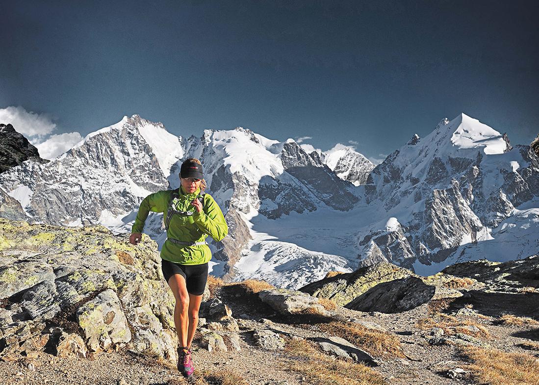 Laufend auf Tour: im Val Roseg zwischen Piz Bernina und Piz Roseg